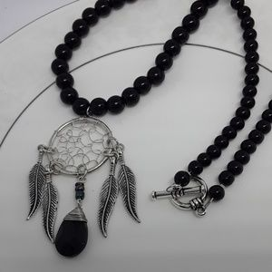 Silver & Black Dreamcatcher Necklace
